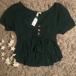 CROPPED BUTTON FRONT BLOUSE 🌿🍃